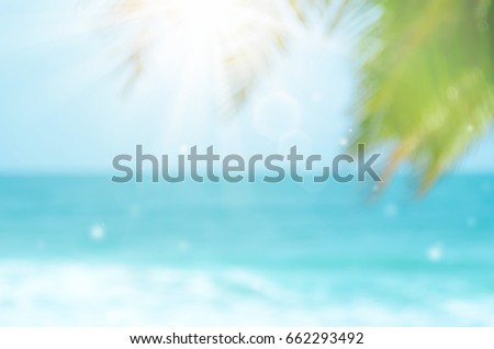 Blur green palm leaf on tropical beach with bokeh sun light wave abstract background.   - Shutterstock ID 662293492