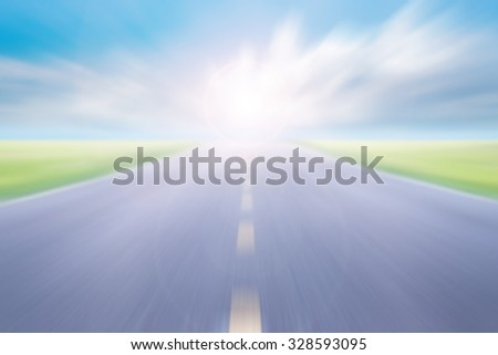 blur high speed road with blue skies background #328593095