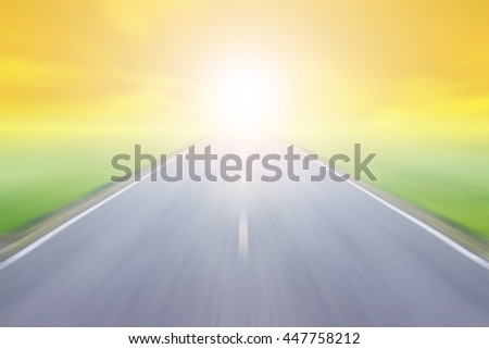 blur high speed road with cloudy sky and sunlight background at evening #447758212