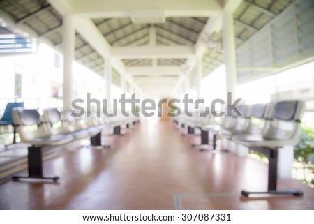 Blur image ,Hospital waiting room Patient waiting,with empty chairs. blur background