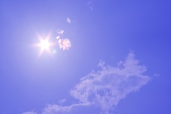 Blur image of a Beautiful morning Sun shines in blue sky.sunburst with Lens flare light over black background.