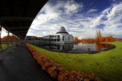 Blur Image Of An-Nur Mosque, Perak by the lakeside viewed in infrared