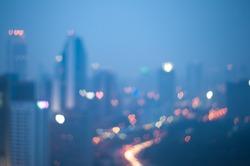 Blur image of Kuala Lumpur with heart bokeh