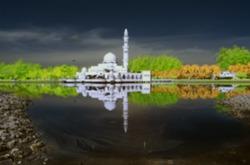 Blur Image Of Mosque Tengku Tengah Zaharah Kuala Ibai Terengganu By The Lakeside Viewed In Infrared