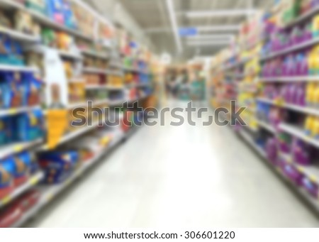 Blur image of pet food aisle in super market