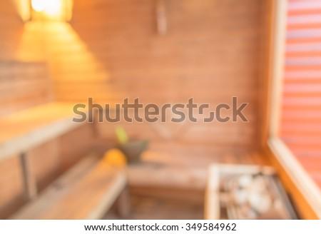 blur image of sauna room for background usage.