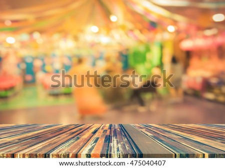 blur image of Tables and decoration prepared for birhtday party for background usage. (vintage tone) #475040407