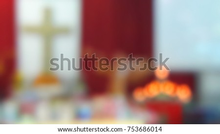 Blur image of the church in Christmas.