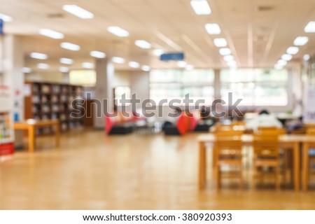blur image of the library or Book shelf Knowledge and Research in Education. Library is a collection of sources of information and similar resources and sun light #380920393