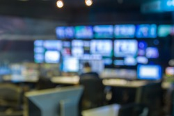 blur image, television studio live news broadcast.