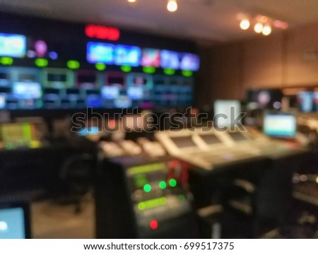 Blur image video switch of Television Broadcast, working with video and audio mixer, control broadcasts in recording studio. #699517375