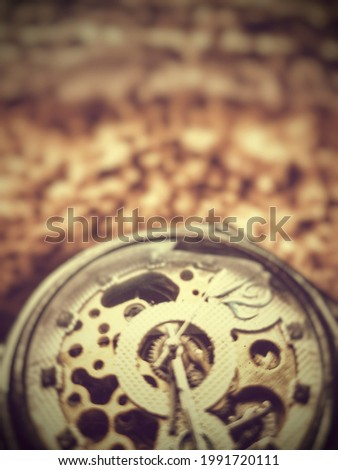 blur lens defocused background of classic watch old antique mechanical