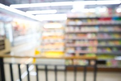blur mage of supermarket and variety product for background usage.