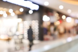 Blur mall and shop background, Store in shopping mall with bokeh light background.