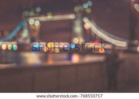 blur night background of people on London famous place at night #768550717