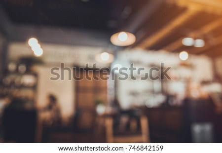 Blur of coffee shop with vintage retro style.  #746842159