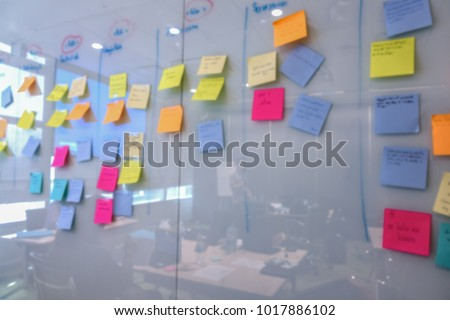 blur of color notes message on whiteboard can use as background, business brainstorm concept