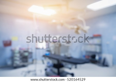 Blur of equipment and medical devices in modern operating room take with art lighting and blue filter,ready for operation,interior of the operating room with the anesthesiology machine,or room