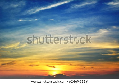 Blur of focus sky sunset background #624696119