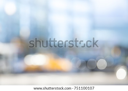 blur of new york city rush on...