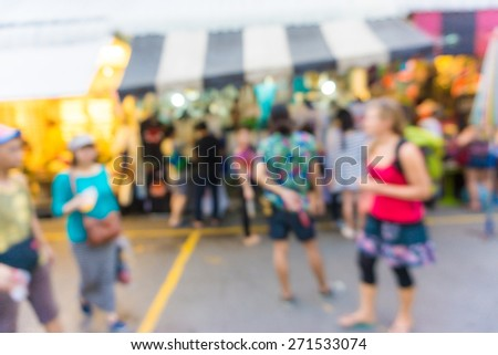 Blur of tourists are walking and shopping in Chatuchak market, largest weekend market in Thailand. #271533074