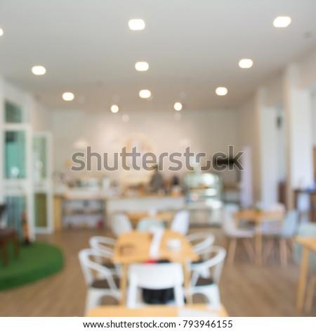 Blur or Defocus image of Coffee Shop or Cafeteria.Cafe interior out of focus - defocused background, vintage retro color #793946155