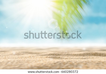 Blur palm leaf on sand beach with bokeh sun light abstract background.  - Shutterstock ID 660280372