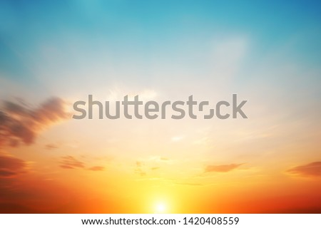 Blur pastels gradient sunset background on soft nature sunrise peaceful morning beach outdoor. heavenly mind view at a resort deck touching sunshine, sky summer clouds.