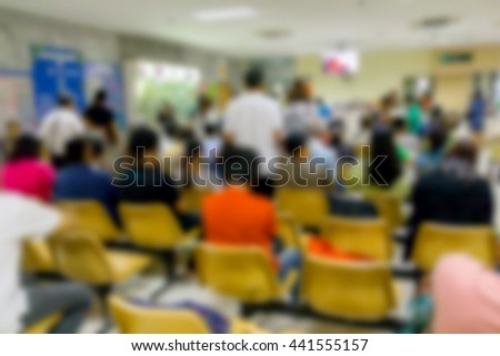 Blur patient waiting see a doctor in the hospital has many patients #441555157