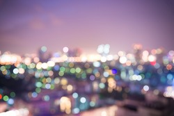 Blur photo cityscape,Abstract night light cityscape bokeh defocused background.