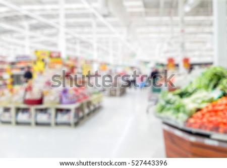 Blur photo of supermarket in thailand
