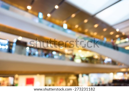 Blur photograph of an indoor building of a grand department store with escalator between floors