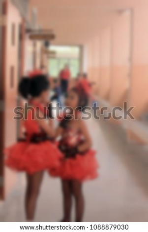 Blur picture, Friendship of Pom pom cheers schoolgirl.