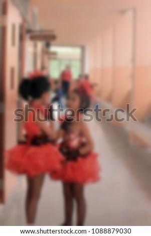 Blur picture, Friendship of Pom pom cheers schoolgirl.