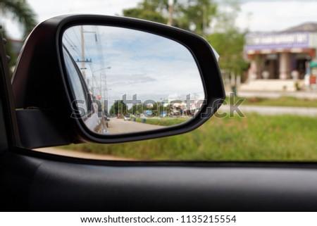 blur reflection in side mirror #1135215554