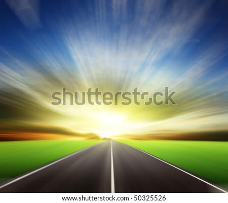 blur road and sunset #50325526
