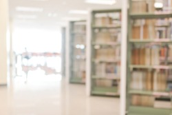 Blur school library with book shelves  for education background