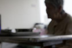 blur shadow old women is feel bored when she sick