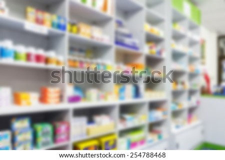 blur shelves of drugs in the pharmacy