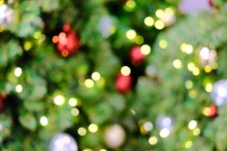 Blur, soft focus decorated Christmas tree.bokeh