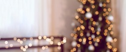 Blur, soft focus decorated Christmas tree. Bokeh