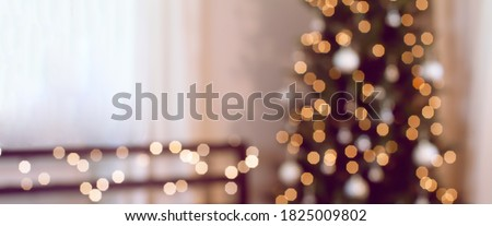 Photo of  Blur, soft focus decorated Christmas tree. Bokeh