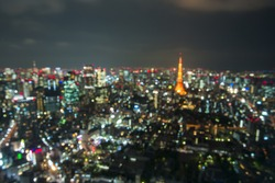 Blur Tokyo City Skyline at Night
