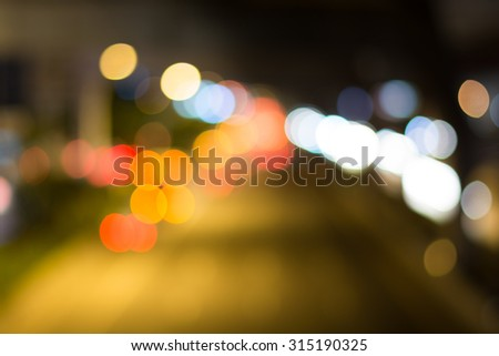 Blur traffic and car lights bokeh in rush hour background. Photo Of Bokeh Lights / Street Lights Out Of Focus