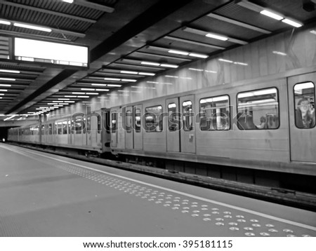 Blur view of Brussels metro platform in Bru.-Luxemburg/brux.-Luxembourg station.(Black and white represent RIP) #395181115