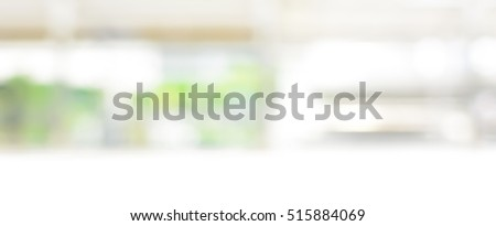 Blur white green abstract panoramic banner background from kitchen window