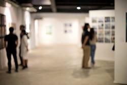 blur white museum room art gallery exhibition display
