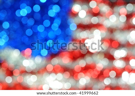 blured american flag fron christmas decorations