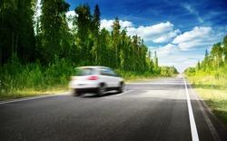 blured car on  road