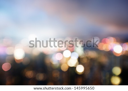 Stock Photo blured lighhts from peak Victoria, Hong Kong